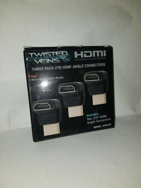 Twisted Veins ACHLA3 Three (3) Pack of HDMI 270 DegreeRight Angle Connectors..