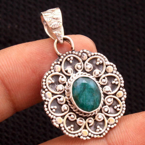 Faceted Sakota Mine Emerald 925 Sterling silver Bali Style Pendant 1.4
