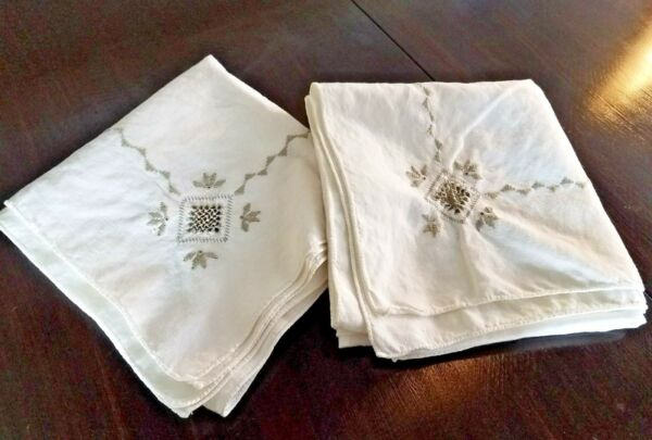 2 Beautiful Vintage Hand Embroidered Linen Tablecloths Cutwork amp; Beige Drawnwork