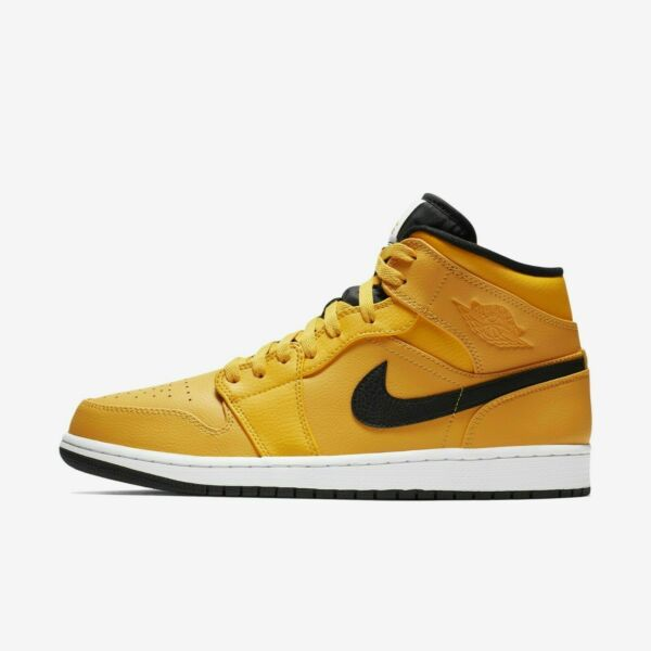 New Men's Air Jordan 1 Mid Retro Shoes (554724-700) University Gold//Black-White