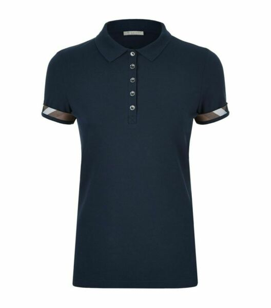 Burberry women#x27;s navy check trim stretch pique polo shirt xssmlxl $89.99