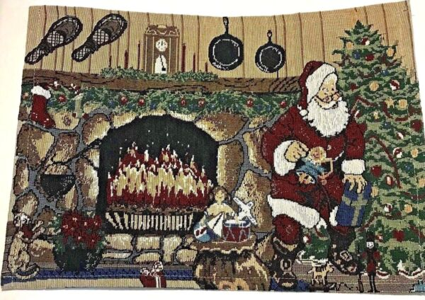 Set 4 Santa Fireplace Hearth Tapestry Placemats 13 x 18 in Snow Shoes Christmas