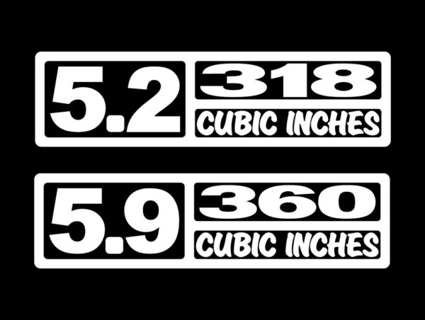 2 V8 5.2 or 5.9 LITER ENGINE DECALS 318-360 CI STICKERS RAM MAGNUM FE AMC 4X4