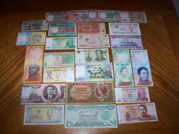Lot of 25 Different Bank Notes from Various Countries. CL4