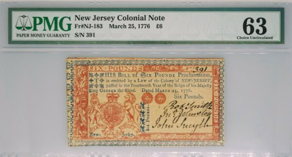 1776 New Jersey Colonial Note Six Pounds FR#NJ-183 PMG 63 Choice Uncirculated L6