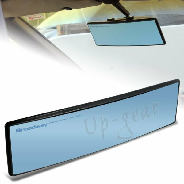 Universal Broadway 270MM Wide Convex Interior Clip On Rear View Blue Tint Mirror $10.99