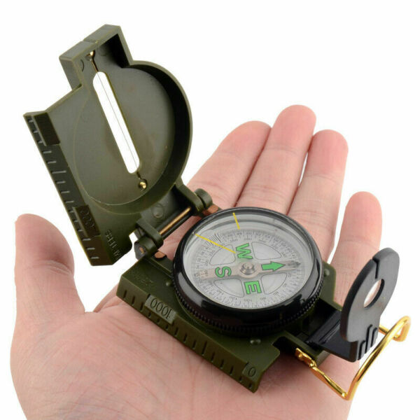 Lensatic Compass Military Camping Survival Marching Metal Pocket Army Style