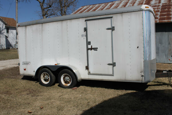 16' x 7' HAULMARK TRAILER WITH TOOLS SHELVES &CABINETS