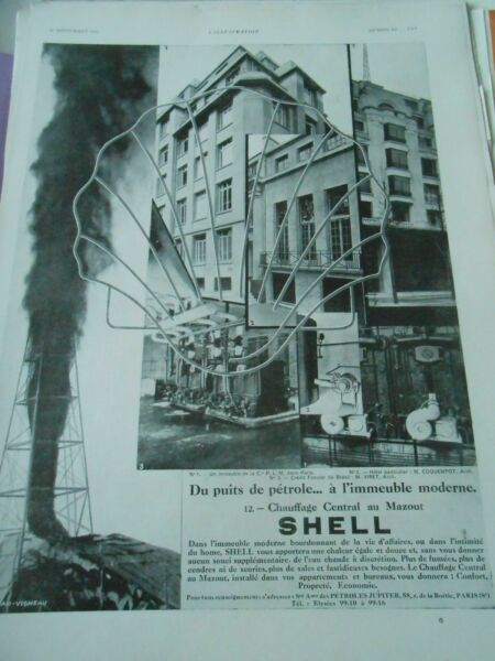 Publicitté Advertising 1930 Shell du puits de pétrole