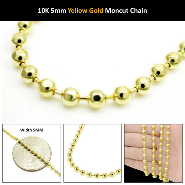 10k Yellow Gold 5mm Diamond Cut Military Dog Tag Chain Moon Bead Necklace 24-40
