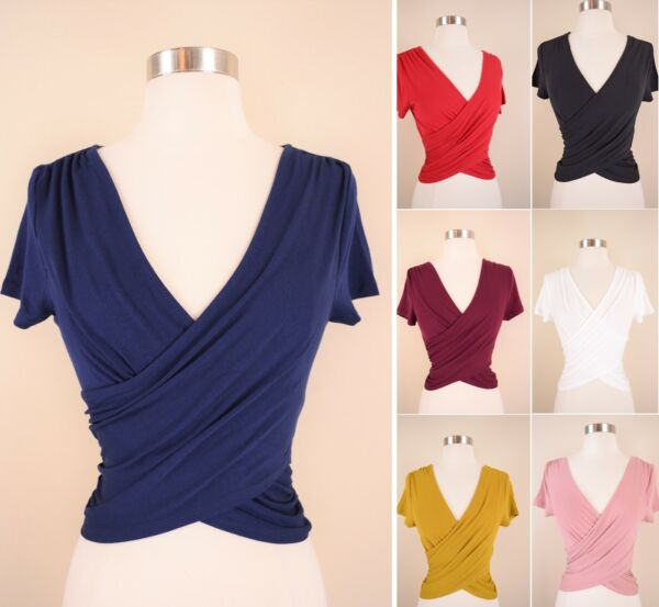 Wrap Front Crop Top Soft Knit Solids Stretch Short Sleeve V-Neck Fitted T-Shirt