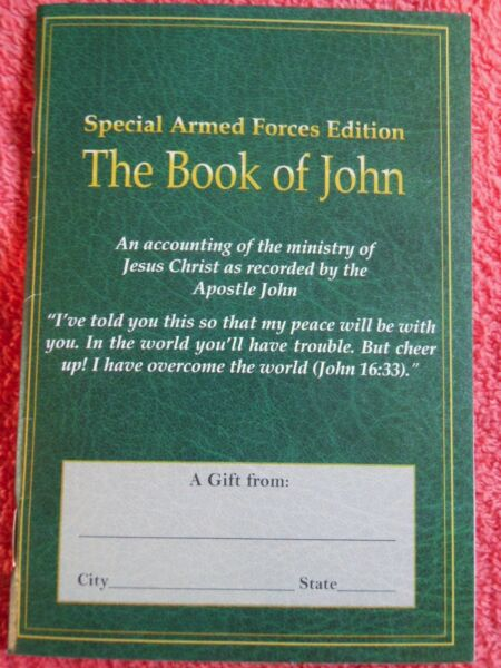 THE BOOK OF JOHN SPECIAL ARMED FORCES EDITION MINISTRY OF JESUS CHRIST