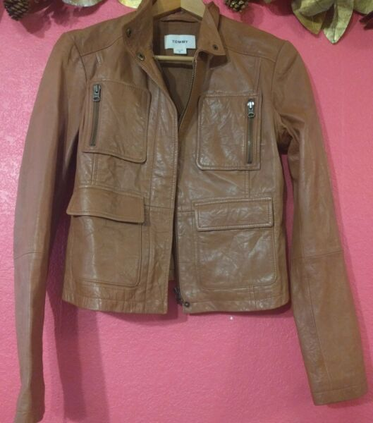 Tommy Women#x27;s Tan Moto Leather Jacket Size Small $130.00