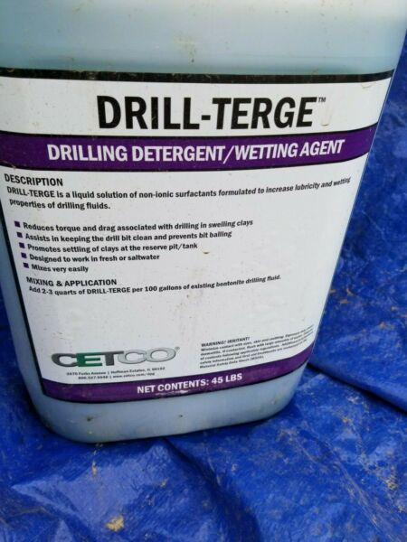 Cetco Drill-Terge 45LB Approx 5 gal gallons pail jug liquid drilling detergent