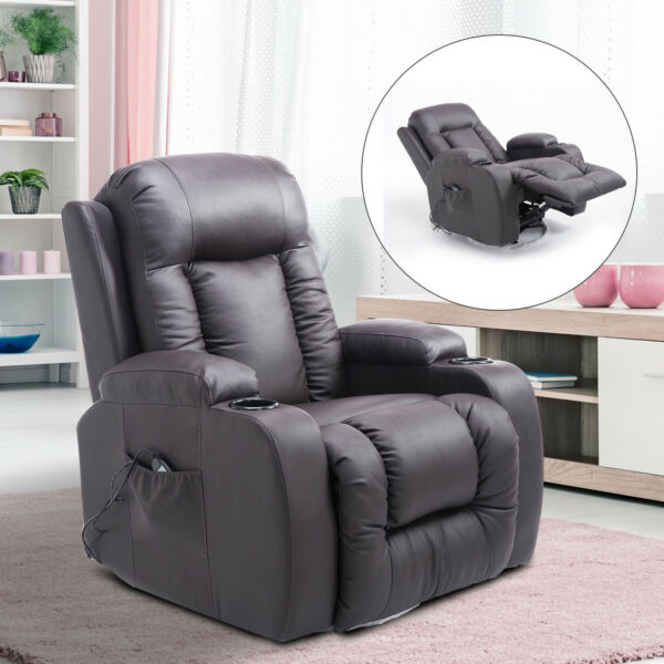 PU Leather Heated Vibrating Massage Recliner Sofa Chair Remote Brown $289.99