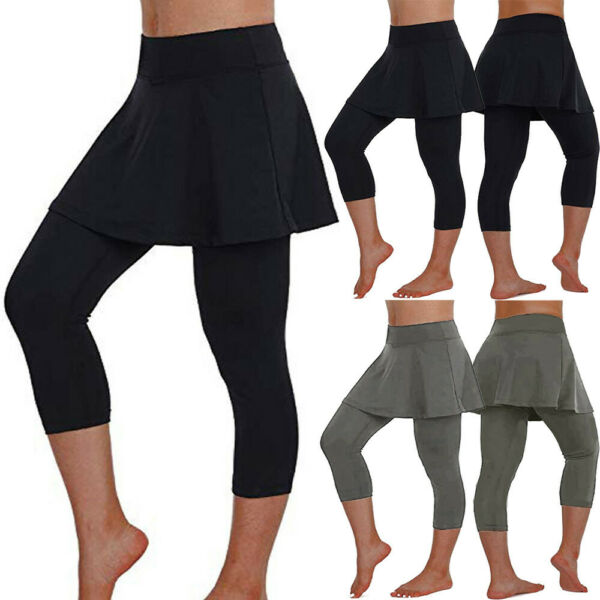 Women's Casual Skirt Leggings Solid Tennis Pants  Fitness Cropped Culottes New