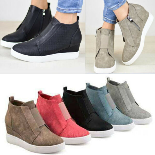 Women Hidden Wedge Mid Heel Ankle Boots Sneakers Trainers High Top Shoes Booties