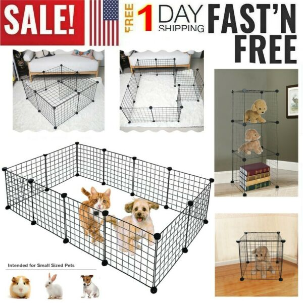 12 Panel Heavy Duty Metal Cage Crate Pet Dog Cat Fence Exercise Playpen Kennel V