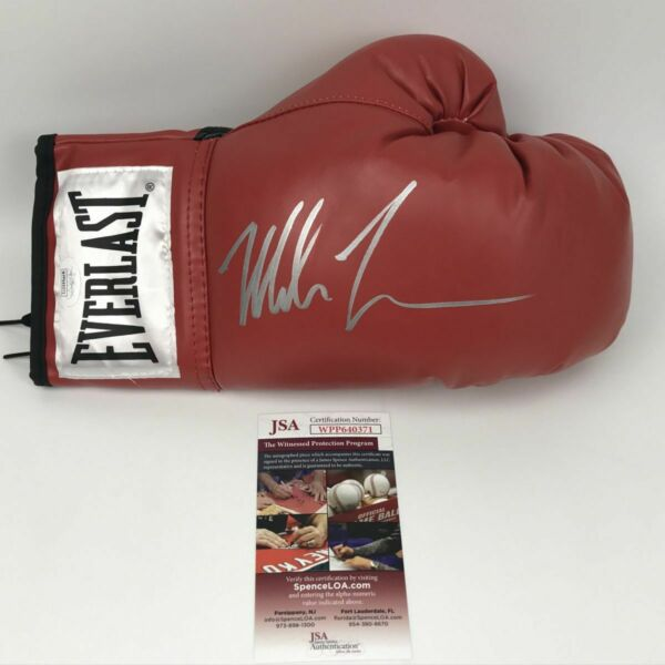 AutographedSigned MIKE TYSON Everlast Red Boxing Glove JSA Spence COA Auto