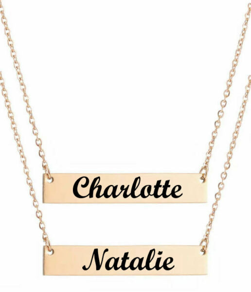 Personalized Lase Engraved Name Plate Bar Necklace Pendant Rose Gold 1009-4
