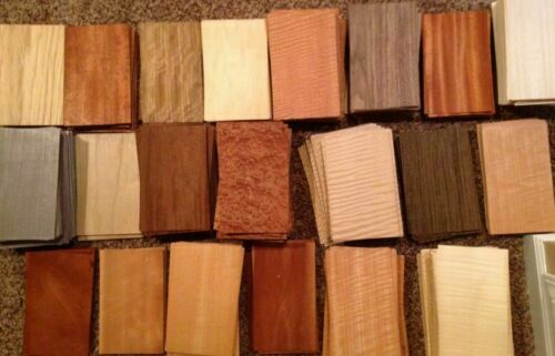 WOOD VENEER 5quot; x 8quot; 65 pieces sheets domestic exotic marquetry variety cricut $15.99