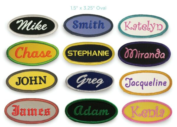 Iron On Embroidered Custom Oval Name Patch (Free Shipping)