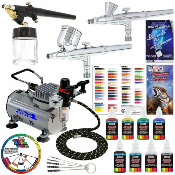 3 Airbrush Professional 3 System With Compressor and 6 Color Primary Paint $186.99