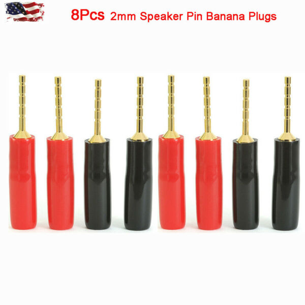 8 Pcs Speaker Pin Connectors 2mm Gold Plated  Banana Plugs Screw Terminal US