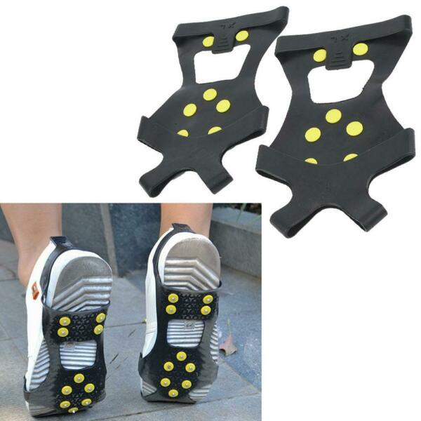 1Pair Anti slip 10 stud Snow Spike Grips Cleat Ice Shoes Covers Crampons $6.38