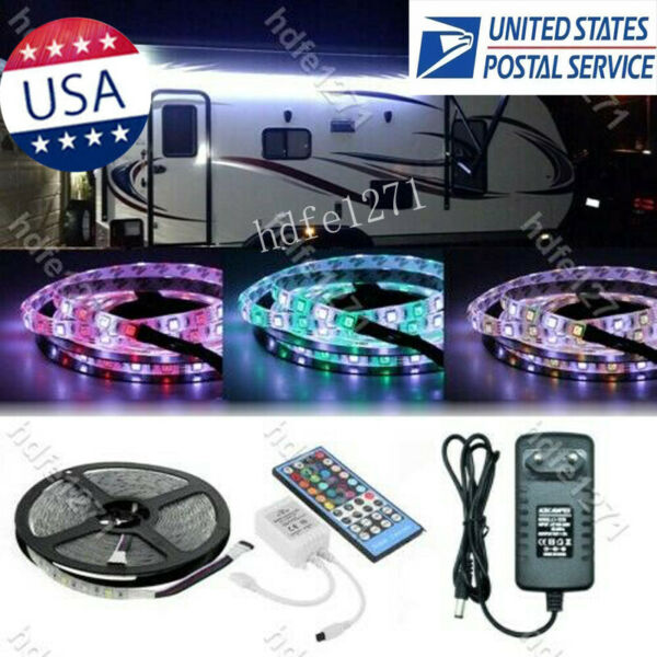 RV Awning Camper 12ft RGB+W Color Changing LED Strip Light Kit Dual Lights