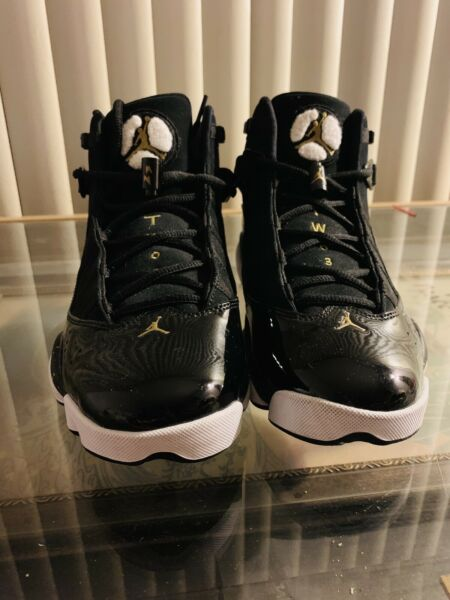 Nike Air Jordan 6 Rings Black Gold Basketball Shoes 322992-007 Sz8.5 P5/N8774