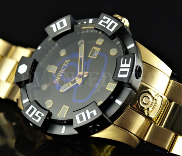 Invicta Grand Diver Black Dial BLUE LOGO Automatic 18K Gold Plated SS 200m Watch $84.55