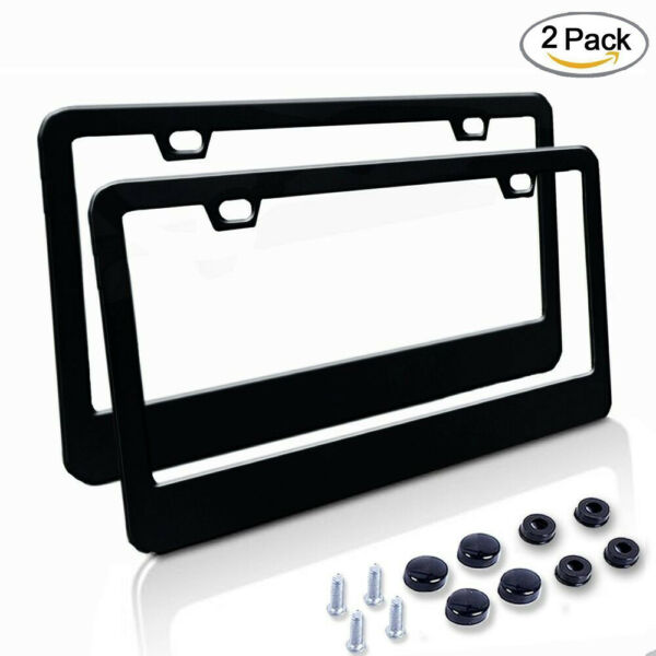 2PC Car Stainless License Plate Frames/Bolts/Caps Kit Matte Black for Truck
