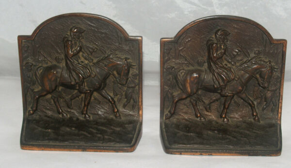 ANTIQUE PAIR OF CAST IRON FIGURAL BOOK ENDS GEORGE WASHINGTON AT VALLEY FORGE