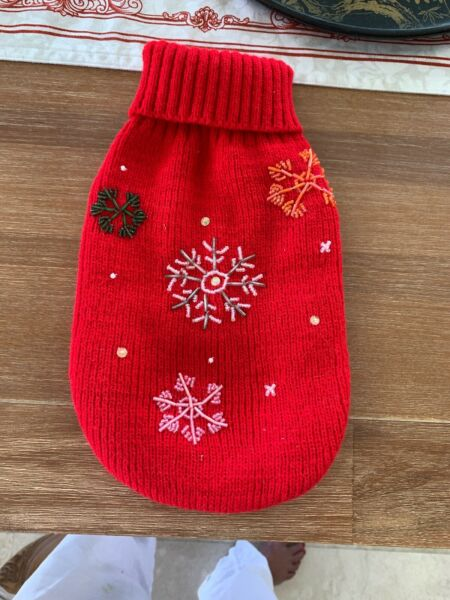 Dog Christmas Sweater With Beading For Small Dog $29.00