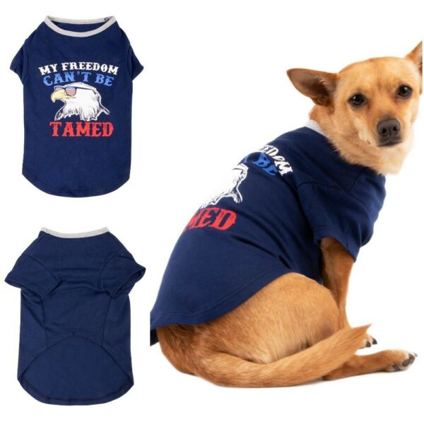 SIMPLY DOG Blue Patriotic 4th of July Dog Puppy Pooch XS T-Shirt Bald Eagle