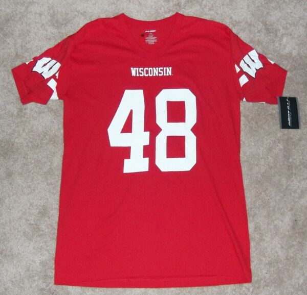 WISCONSIN BADGERS JERSEY TYPE SHIRT MENS LARGE - DOUBLE SIDED #48 - BRAND NEW