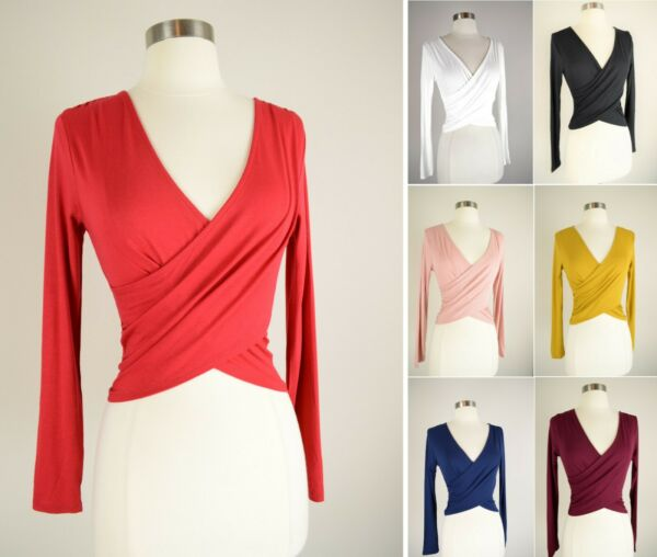 Wrap Front Crop Top Soft Knit Solids Stretch Long Sleeve V Neck Fitted T Shirt $14.99
