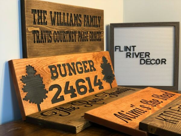 Personalized Family Name Sign Engraved Wood Sign Rustic Decor FREE SHIPPING!!!
