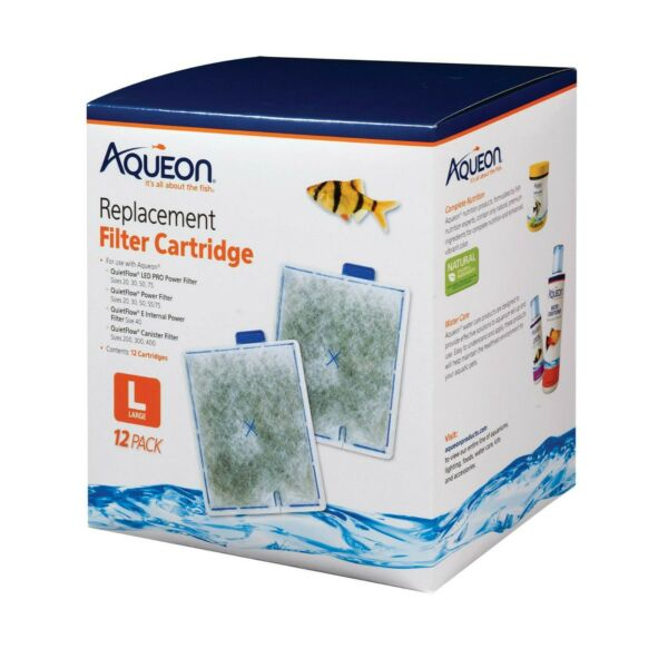 12 Pack Aqueon Filter Cartridge LARGE For Quiet Flow Power Internal PRO Canister