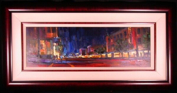 San Franciso Nights Original Acrylic Painting on Canvas by Michael Flohr Framed