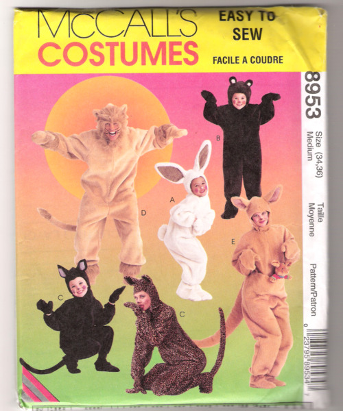 McCall#x27;s 8953 Bunny Lion Cat Bear Kangaroo Lion Costumes Adult Size M $8.99