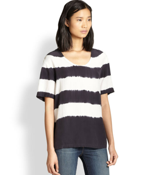EQUIPMENT SILK CAMERON TEE     XS    BLACK TOP BLOUSE   $218    NEW