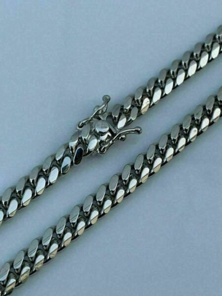 Miami Cuban Link Chain Real Solid 925 Silver ITALY Heavy 6mm 18 30quot; Box Lock