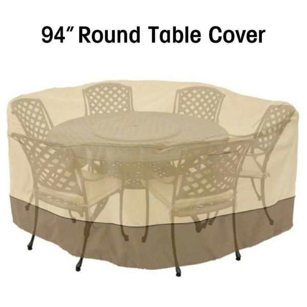 94quot; Round Patio Table amp; 6 Chairs Set Waterproof Outdoor Large Furniture Cover