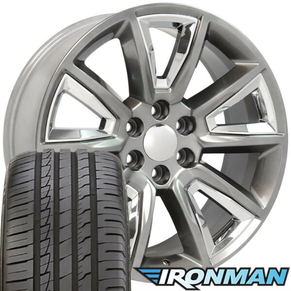 (4) 22x9 Hyper Black Rims & Ironman Tires & TPMS fit GMC Sierra 22x9 SET