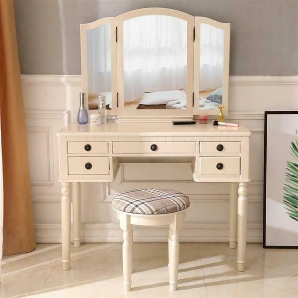 Makeup Dresser Dressing table Three-Fold Square Mirror with 5 Drawers+stool