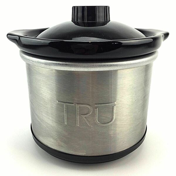 TRU .65 Quart Oval Mini Crock Slow Cooker Individual Crockpot Black Stainless