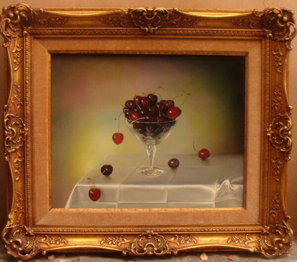 MAGNIFICENT OB STILL LIFE PAINTING CHERRIES BY TEIMUR AMIRY CALIFO