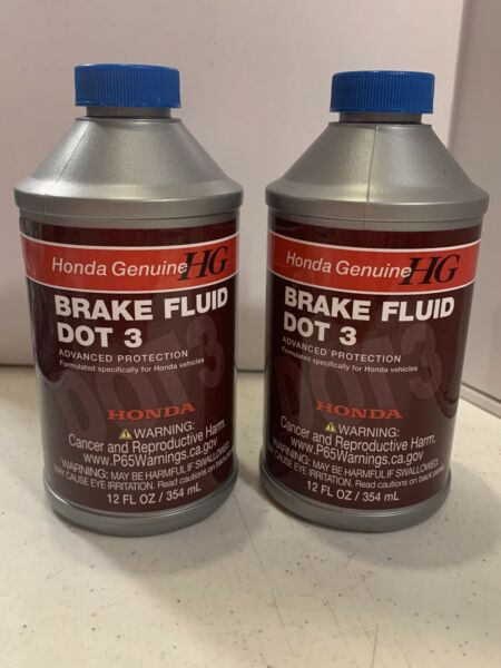 2 Genuine OEM Honda Brake Fluid Bottle 12 Ounces oz. 08798 9008 DOT 3